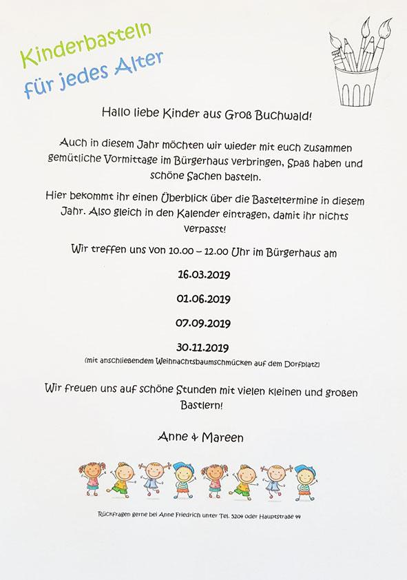Kinderbastel in Groß Buchwald, alle termine 2019